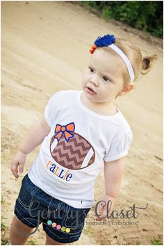Football shirt. Girl's football clothes with personalized name. Team sports outift. Football sister. Cheerleader. Orange and royal blue. on Etsy, $23.00