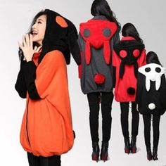4 colors M-2XL Loose Fleece Bunny Ear Hoodie Jacket Coat SP141469. Kawaii fashion and cute styles