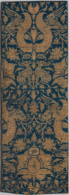 Textile with Brocade Date: 14th–15th century Culture: Spanish or Near Eastern Medium: Satin and plain weave; silk and metal threads Accession Number: 46.156.42