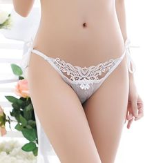 Women Sexy Lace Adjustable Strappy Transparent Low-waisted Breathable Panties at Banggood