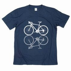 Road bicycle Tshirt  hand printed on dark blue by GreenlakeTee, $15.00