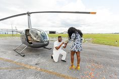 Daniel pops the question to Nia in front of a helicopter at Kissimmee, Florida's MaxFlight helicopters Proposal Photography, Marriage Proposals, Orlando Florida, Helicopters, Orlando, Proposals