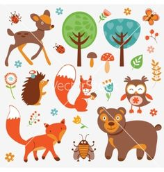 Funny forest animals collection vector by Olillia on VectorStock®