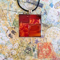 Large mosaic pendant necklace made of red by MosaicPendantsPlus, $25.00
