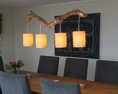 Unique Cozy ceiling lamp, with four lights, finished with real wood veneer lampshades.