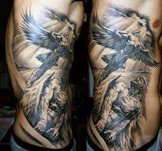 100 Guardian Angel Tattoos for Men – Spiritual Ink Designs – Tattoo Designs Mens Side Tattoos, Rib Tattoos For Guys, Trendy Tattoos, Rib Tattoos Men, Celtic Tattoos, Miami Ink Tattoos, Skull Tattoos, Tattoo Cat, Animal Tattoos