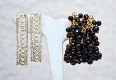 2 Pair Earrings Gold Tone Cha Cha Black Beads by HighClassHighway