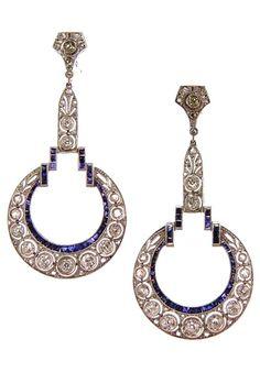 Art Deco. Platinum, 18k White Gold, Sapphire and Diamond Earrings, c1920.