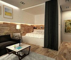 2 Simple, Super Beautiful Studio Apartment Concepts For A Young Couple [Includes Floor Plans] one-room-apartment-ideas Studio Apartment Furniture, One Room Apartment, Small Apartment Bedrooms, Studio Apartment Design, Apartment Interior Design, Small Apartments, Apartment Ideas, Interior Ideas, Simple Interior