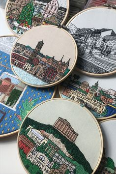 FaimyxStitch - architectural hand embroidery patterns by FaimyCrossStitch Hand Embroidery Patterns, Etsy Seller, Unique Jewelry, Handmade Gifts, Quilts, Sewing, Architecture, Book, Crafts