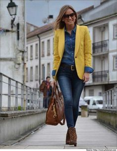 Denim Shirts Yellow Blazer.  #denimshirts #blazer