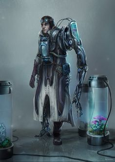 Sci fi scientist character - he lost his arm and leg in a lab accident and replaced them with robotic limbs. Character Concept, Character Art, Character Design, Concept Art, Cyberpunk Character, Cyberpunk Art, Star Wars Rpg, Futuristic Art, Science