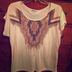 Tribal sequence blush tee Beautiful blush color with brown, bronze, and gold sequence give this simple tee the major elevation to wear at any occasion Tops Tees - Short Sleeve