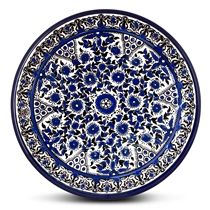 Blue and White Floral Plate - Circles. Armenian Ceramic