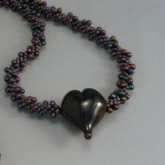Kumihimo Beaded Necklace with Handmade Lampwork by FormedInFire, $55.00