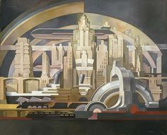 Architectura / Cityscape, Tullio Crali, 1939. Great picture, could be the basis for a contemporary piece of concept art.