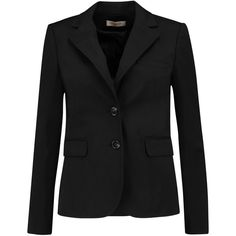 Tory Burch Marissa cotton-blend blazer (11.210 RUB) ❤ liked on Polyvore featuring outerwear, jackets, blazers, black, blazer jacket, tory burch blazer, tailored jacket, short tailored jacket and short jacket