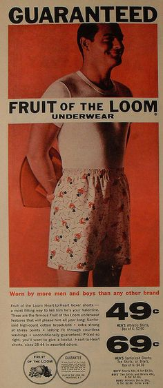 1960s FRUIT OF THE LOOM vintage men's underwear advertisement man in boxer shorts by Christian Montone, via Flickr