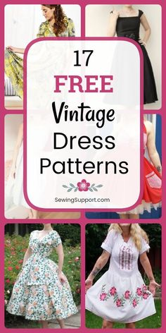 Sewing patterns: 17 Free Vintage Dress sewing patterns, projects & tutorials for women. Styles inspired by the and Sewing patterns: 17 Free Vintage Dress sewing patterns, projects & tutorials for women. Styles inspired by the and Sewing Clothes Women, Dress Clothes For Women, Diy Clothes, Barbie Clothes, Style Clothes, Sewing Patterns For Kids, Dress Sewing Patterns, Skirt Patterns, Sewing Women's Dresses
