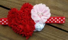 Red Heart Headband Valentines Day headband  by MissThangs on Etsy