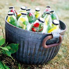 Bottle Your Own Beverages. Great picnic/party idea!