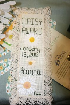 Paula Cox at Bridgton Hospital in Maine makes embroidered bookmarks for every DAISY Honoree!  Beautiful!