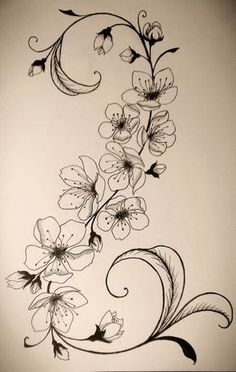 black and white cherry blossom tattoo designs Tattoo Fleur, Flor Tattoo, Mandala Tattoo, Body Art Tattoos, New Tattoos, Tatoos, Tattoo Cherry, Cherry Blossom Tattoos, Bauch Tattoos
