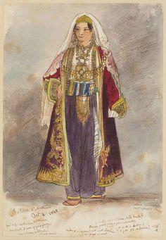 Calliope Bonatti, second daughter of the vice-consul in Shkodra (Scutari), Albania, posing in a native Albanian costume, 6 October 1848.