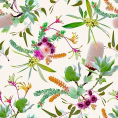 Australian natives in rich vibrant colours depicts a beautiful all-over garden pattern. Digitally illustrated using original photography.