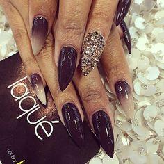 Black & white ombre & gems stiletto.