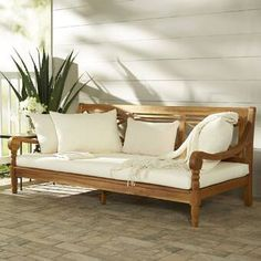 Wood Daybed, Patio Daybed, Outdoor Daybed, Outdoor Sofas, Outdoor Decor, Wooden Furniture, Home Furniture, Furniture Stores, Indoor Sunroom Furniture