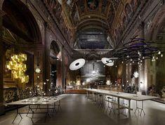 ingo maurer sets lighting exhibition within former church in milan Lamp Design, Design Art, Modern Design, Lighting Concepts, Lighting Design, Ingo Maurer, Interior Decorating, Interior Design, Gold Walls
