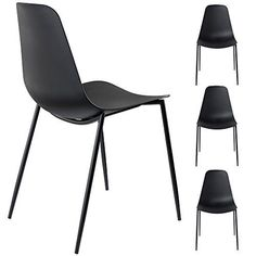 Alessia Set of 4 Black Dining Chairs - Mid Century Modern Style Armless Side Chairs Molded Easy Clean Plastic Shell with Steel Legs by Linea di Liara LL-CH1661-BLACK