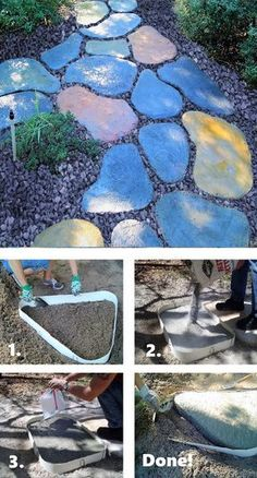 Stepping Stone Walk Maker Garden Path Mold How To Make DIY Stepping Stones. Easy to do Garden Path.