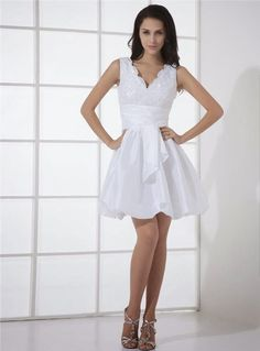 V-Neckline Lace Wedding Dress, Short Mini Wedding Dress