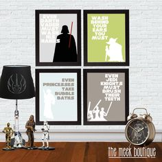 INSTANT Download, Star Wars Bathroom Art, Set of Four Printables, No. 32 by TheMeekBoutique on Etsy https://www.etsy.com/listing/112102936/instant-download-star-wars-bathroom-art