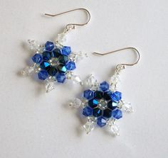 :: Crafty :: Bead :: Deep Blue Swarovski Crystal Snowflake Earrings, hand stitched