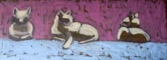 it is oil painting on canvas 25 * 40 cm  called : Cats of Maidoum,by Seba Ali Mamoud