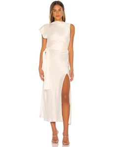 Shop for BEC&BRIDGE Piper Asymmetrical Midi Dress in Ivory at REVOLVE. Tea Length Wedding Dress, Dress Wedding, Figure Flattering Dresses, Beaded Gown, Sequin Gown, Alternative Wedding Dresses, Calf Length Dress, Just In Case, Ball Gowns