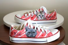 Custom pet portrait on shoes  handpainted and unique shoes  gift for petlovers  crazy cat lady