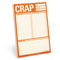 Knock Knock Crap Pad is a funny paper to do notepad. Keep track of your shopping list and to-dos on this list pad. Shop cool office supplies from us!