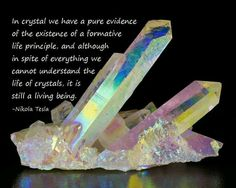 we cannot understand the life of crystals, it is still a living being. - Nikola Tesla