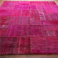 Reclaimed vintage oushak rugs sewn together in patchwork and then dyed fabulous colors like hot pink, turquoise, kelly green, yellow, gray