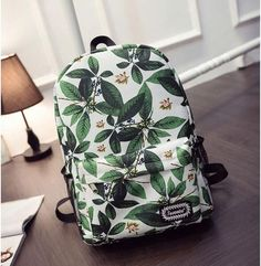 Green Leaves Print Fashion School Backpack