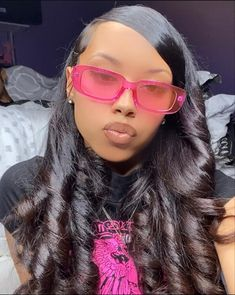 Baddie Hairstyles, Black Girls Hairstyles, Weave Hairstyles, Pretty Hairstyles, Protective Hairstyles, Hair Inspo, Hair Inspiration, Sunglasses For Your Face Shape, Curly Hair Styles