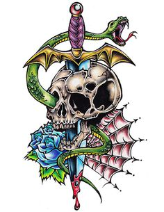 Original Skull and Dagger Tattoo Flast Art by Yours Truly