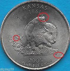 2005-P-KANSAS-STATE-QUARTER-ERROR-COIN-REV-OBV-DIE-CRACK-AND-DIE-CHIPS-UNCIRC