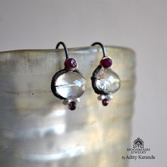 Moonbeams Jewelry by Adity Karande. Handmade Earrings: Crystal Quartz, Ruby, Pearls, and Sapphire on Sterling Silver and 14K Gold.
