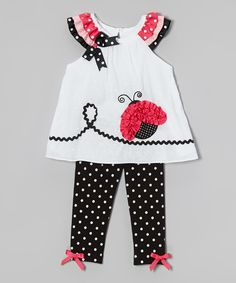 White Ladybug Tunic & Black Polka Dot Leggings - Girls by Rare Editions Girls In Leggings, Black Leggings, Little Girl Dresses, Girls Dresses, Polka Dot Leggings, Printed Leggings, Baby Kind, Cute Outfits For Kids, Girl Clothing