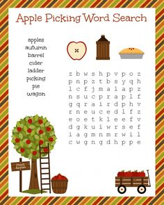 FREE Apple Picking Word Search worksheet printable for literacy - perfect fall fun idea for passing time in the classroom